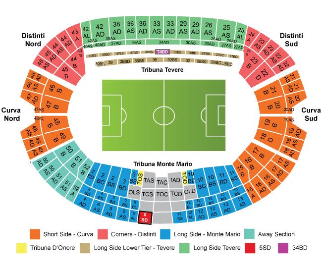 意甲-拉齐奥-罗马奥林匹克体育场座位图